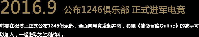 2016.9 公布1246俱乐部 正式进军电竞 韩寒在微博上正式公布1246俱乐部,全面向电竞发起冲刺,希望《使命召唤Online》的高手可以加入,一起进取为胜利战斗。