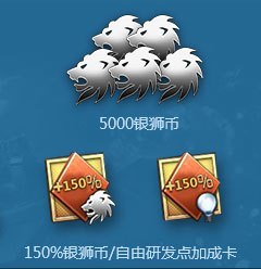 150%银狮币/自由研发点加成卡